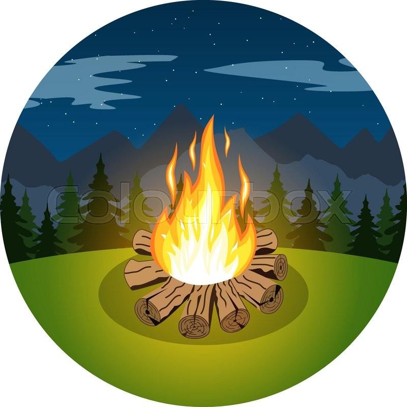 cartoon bonfire on night landscape of trees and mountains icon rh colourbox com cartoon bonfire night cartoon bonfire night images