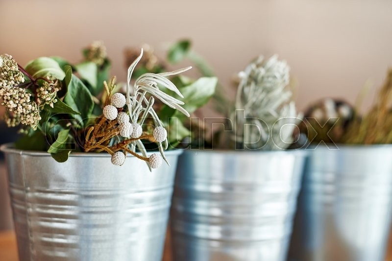 Beautiful bouquet of dried flowers in bucket, stock photo