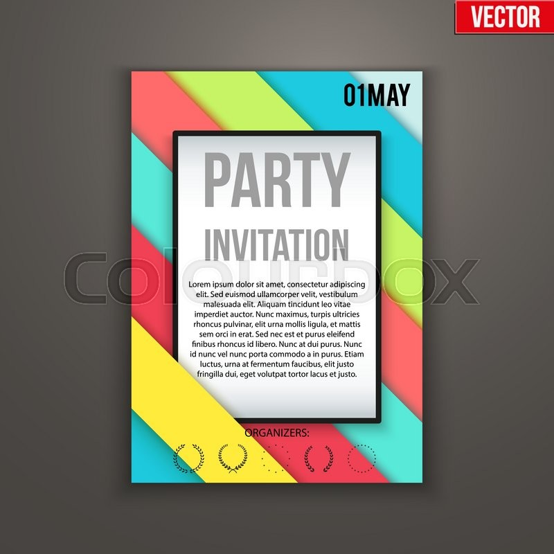 Design of template Invitation flyer or presentation. Abstract flat ...