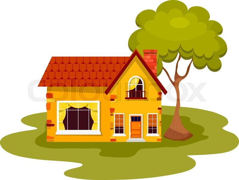 Yellow Stone House With Green Tree On A White Background Country Red Roof Windows Balcony And Chimney Element Of Design Advertising