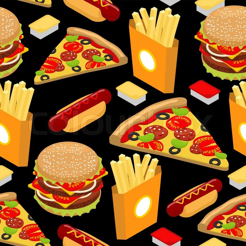 Fast Food Pattern Hamburger And French Fries On Black