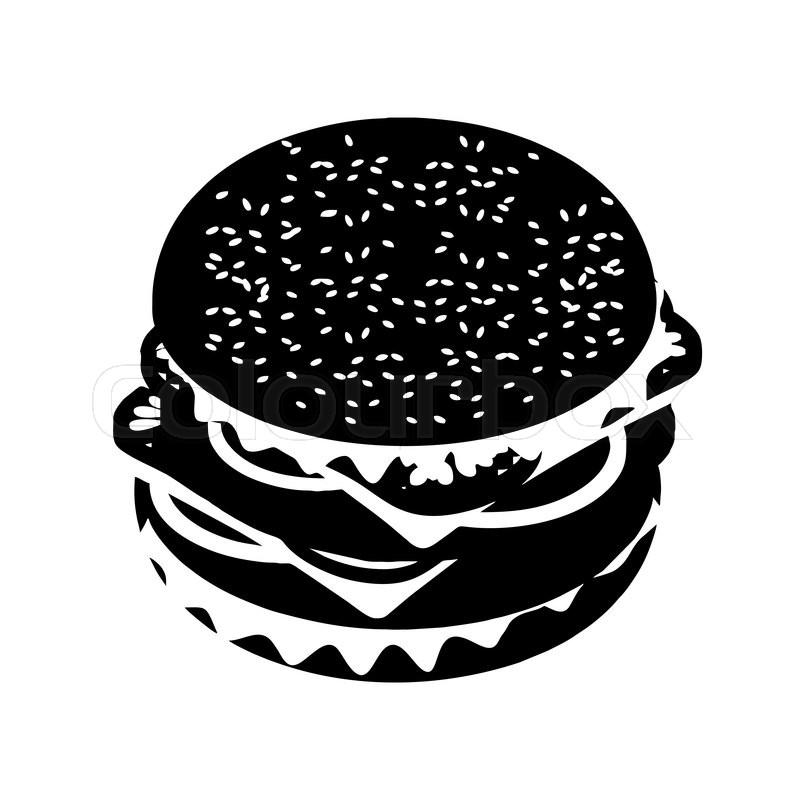 Hamburger Silhouette Sign Fast Food Flat Style