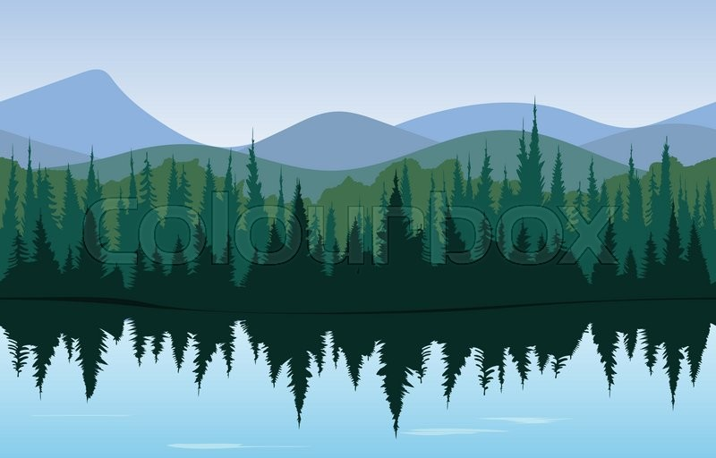 Forest panorama, morning or day time ...   Stock Vector ...