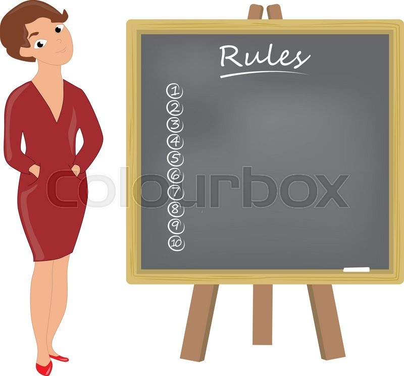 Teacher Formally Dressed Woman With Blackboard Shows Rules Stock Vector Colourbox