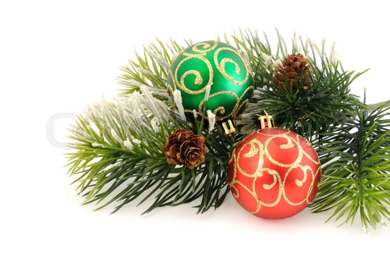Christmas balls against the backdrop of tinsel with pine