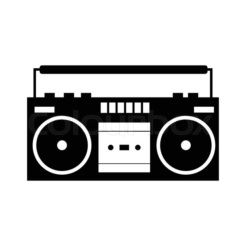 boombox black simple icon isolated on a white stock vector colourbox rh colourbox com old boombox vector boom box vector free