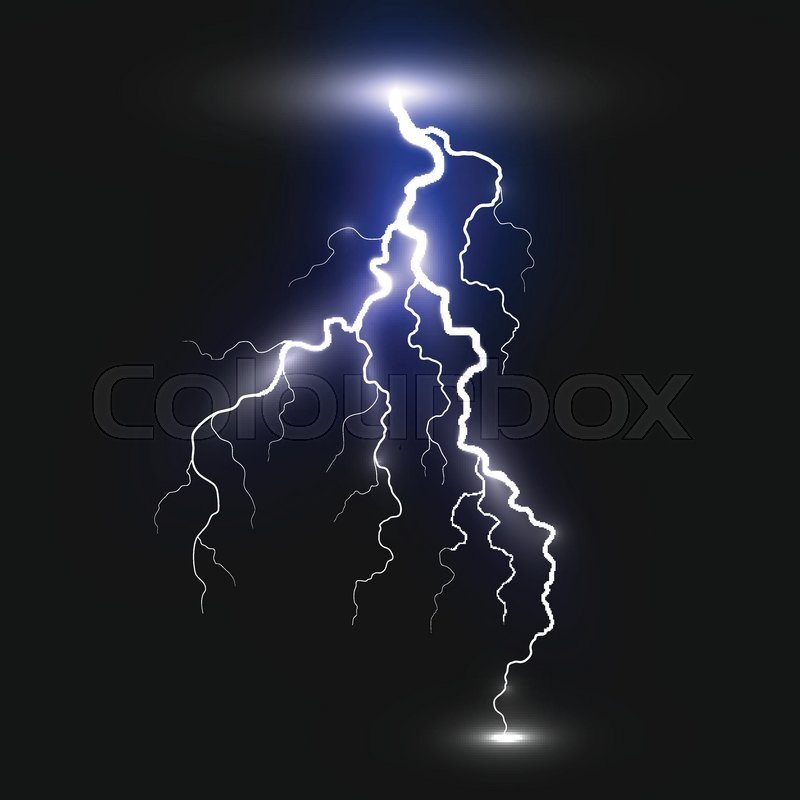 Realistic Lightning Sign On Black Background Natural Effects
