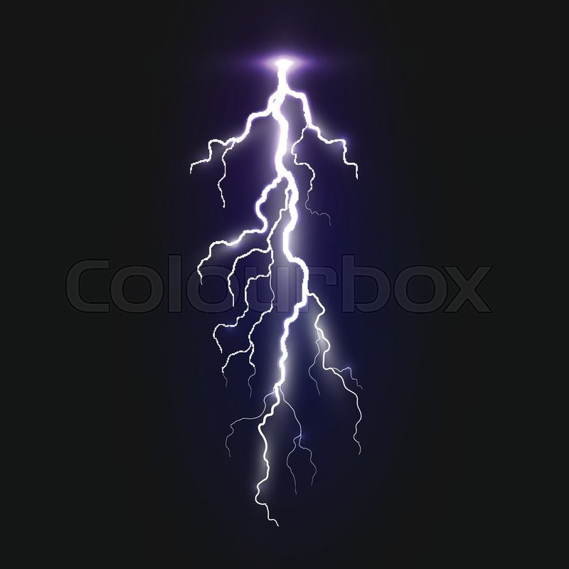 New Realistic Lightning Sign On Black Background Natural Effects