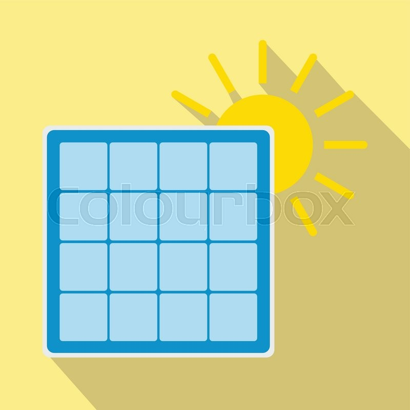 Solar Panel With Sun Icon Renewable Energy Concept Colorful Symbol