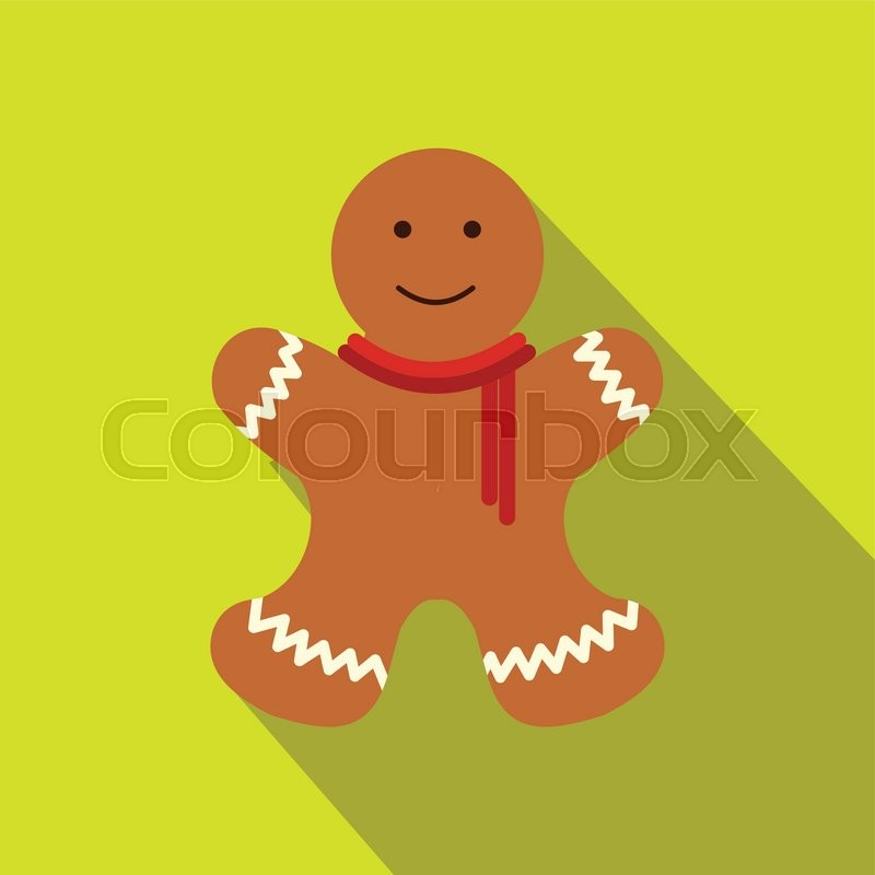 christmas gingerbread man flat icon single image with long shadow stock vector colourbox - Christmas Gingerbread Man