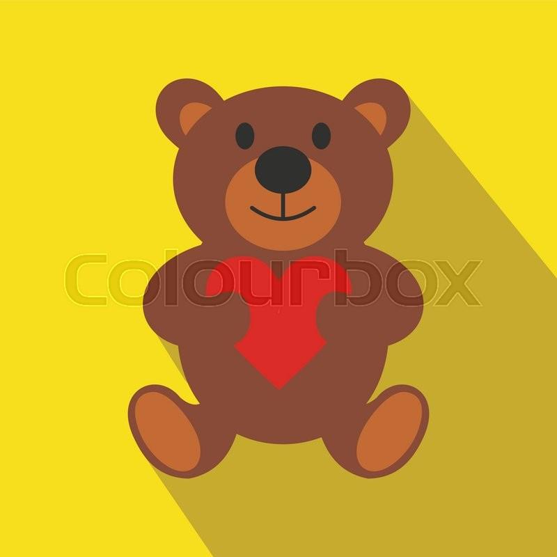 teddy bear flat icon with long shadow single modern symbol on a