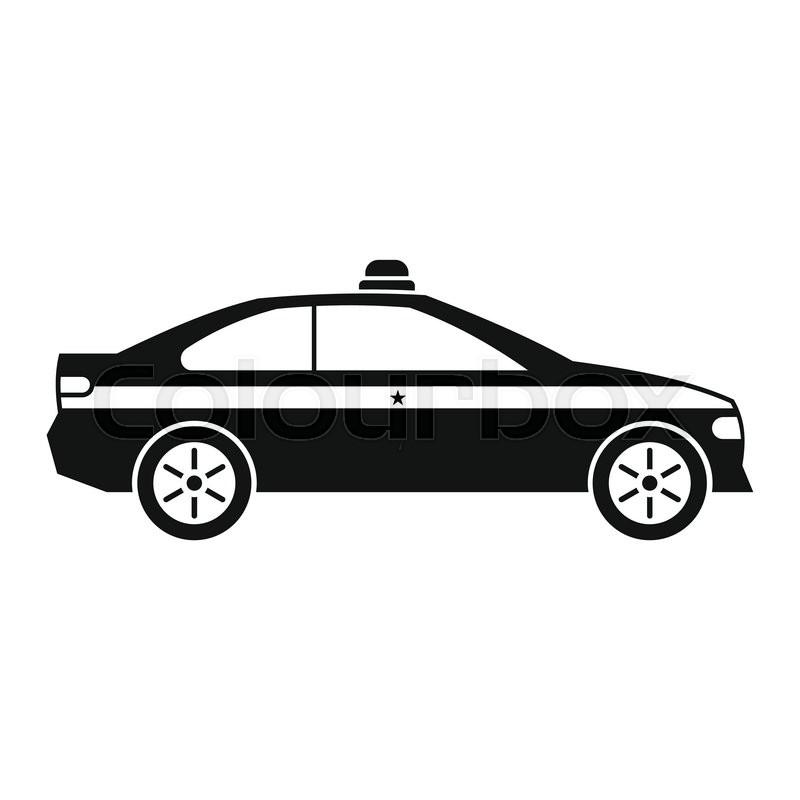 Police car black icon. Simple black symbol on a white ...