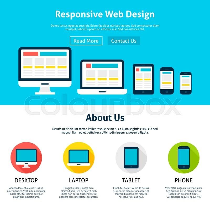 responsive web design gadgets flat concept vector illustration of