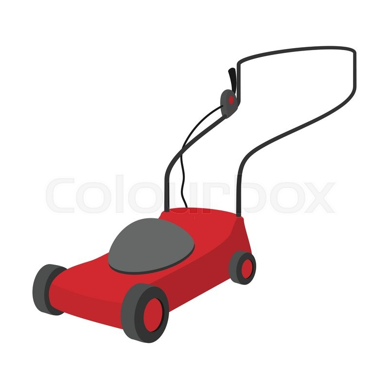 Mower cartoon icon isolated on a white background | Stock ...