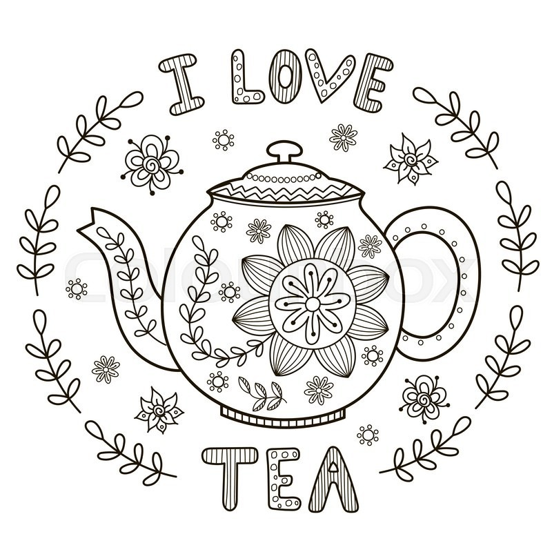 I Love Tea Illustration For Coloring Book Or Print Vector