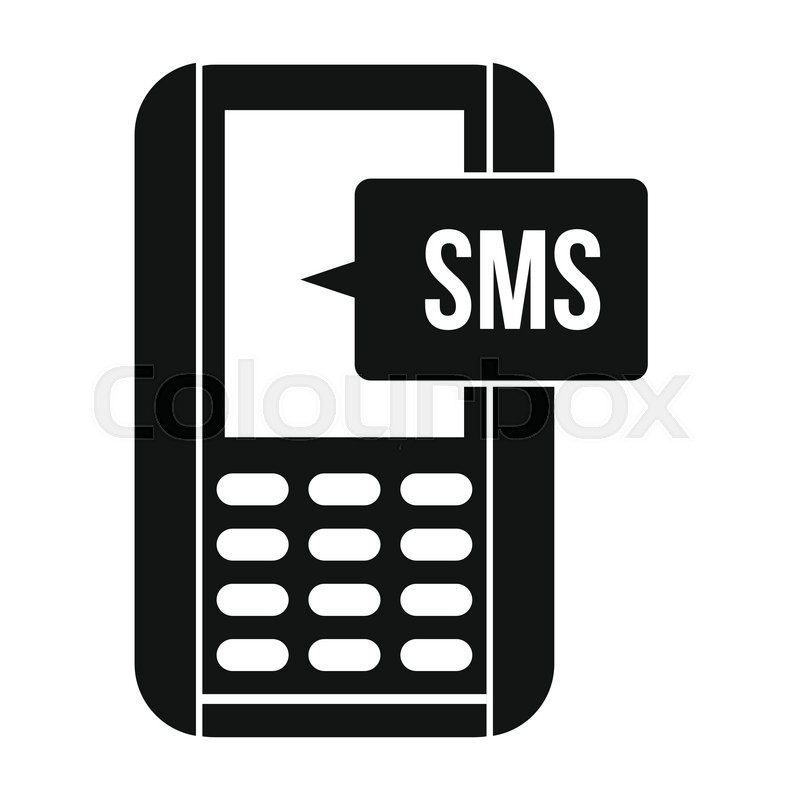 Mobile Phone With Sms Message Symbol Black Simple Icon Stock