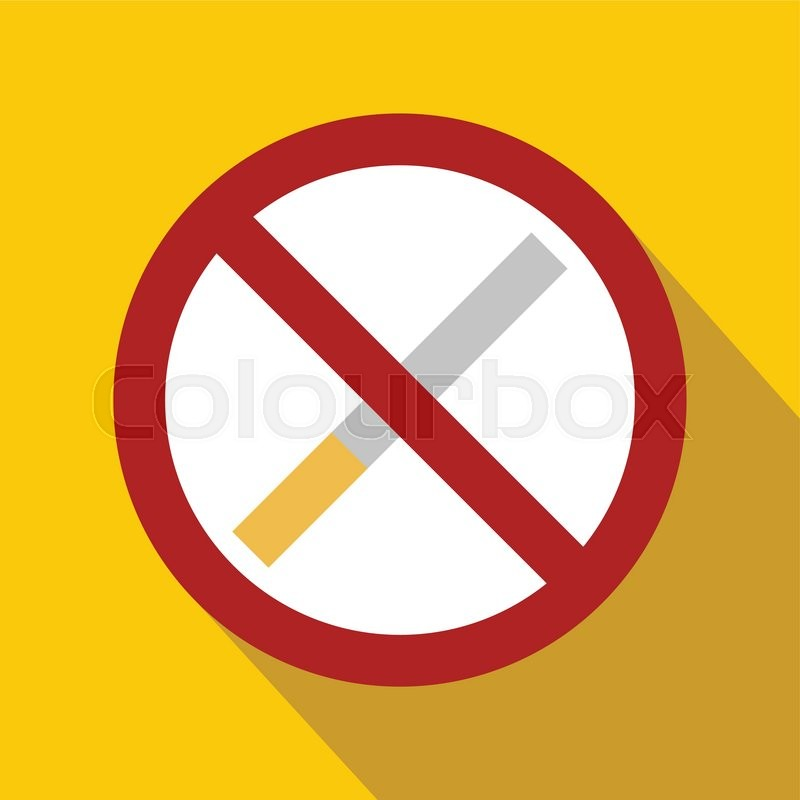 no smoking sign flat icon on a yellow background stock vector