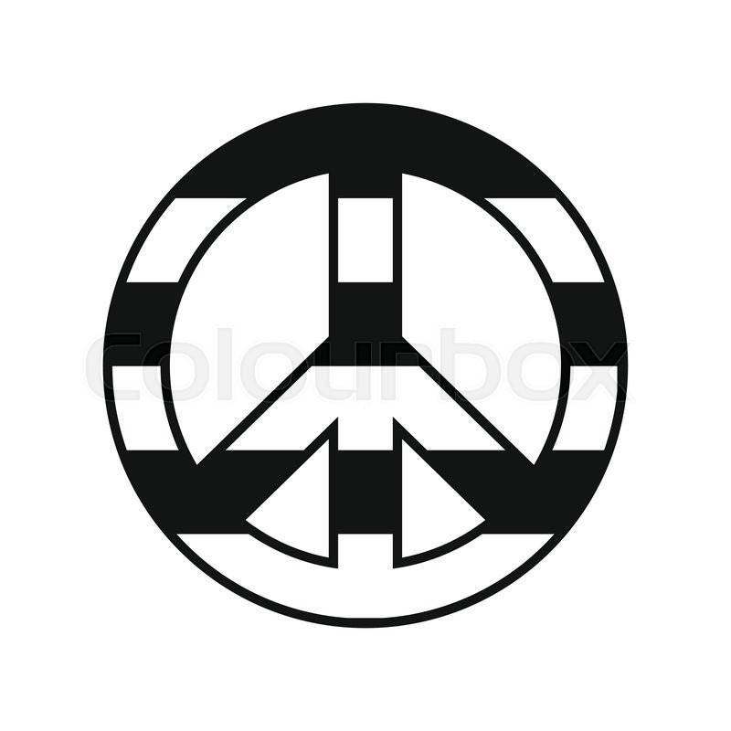 Peace Symbol Rainbow Black Simple Icon Isolated On White Background