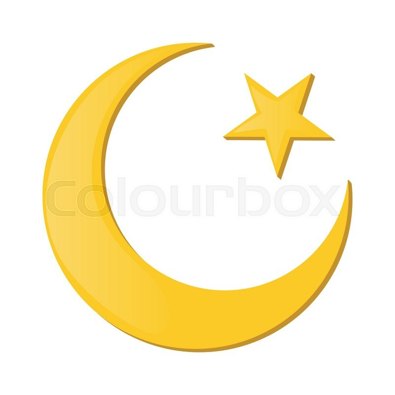 Crescent And Star Cartoon Icon On A White Background Islam Symbol