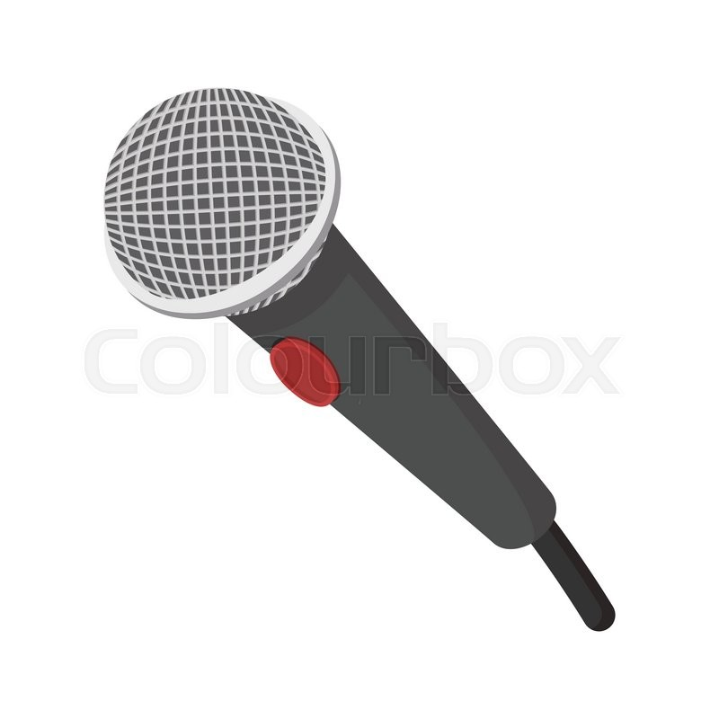 microphone cartoon icon with red button illustration on white rh colourbox com cartoon microphone with music notes cartoon microphone images