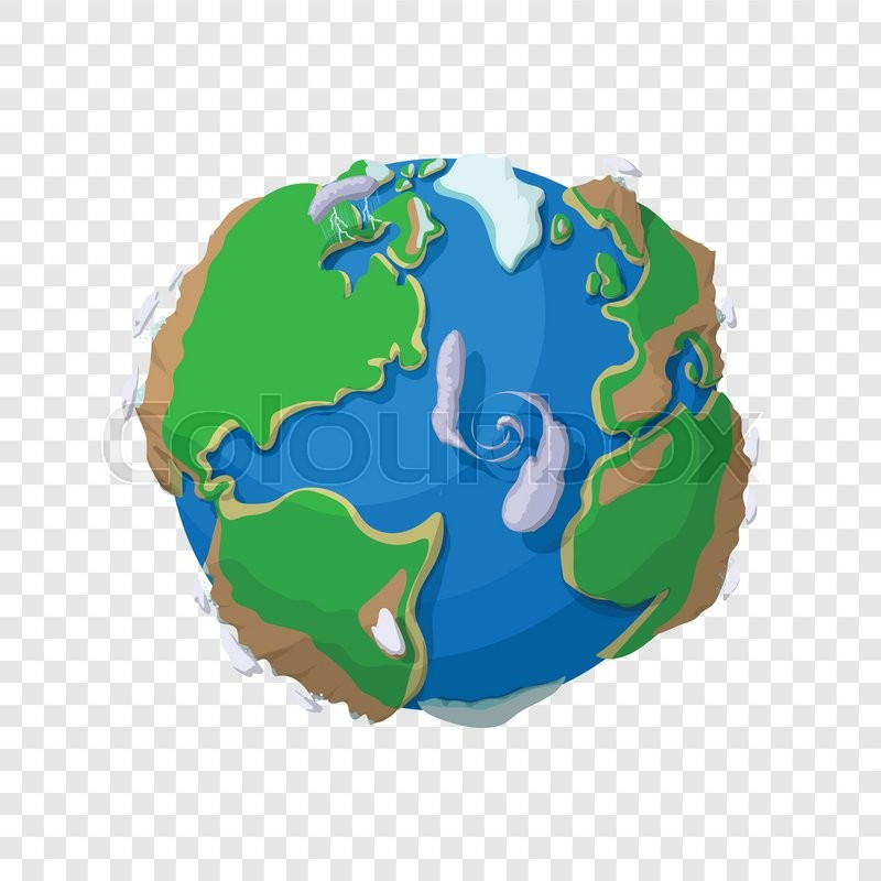 Earth In Cartoon Style On Transparent Background Stock