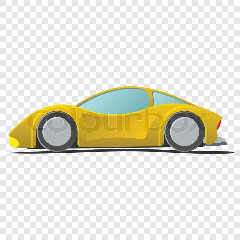 Cartoon Yellow Sportscar Illustration Isolated On