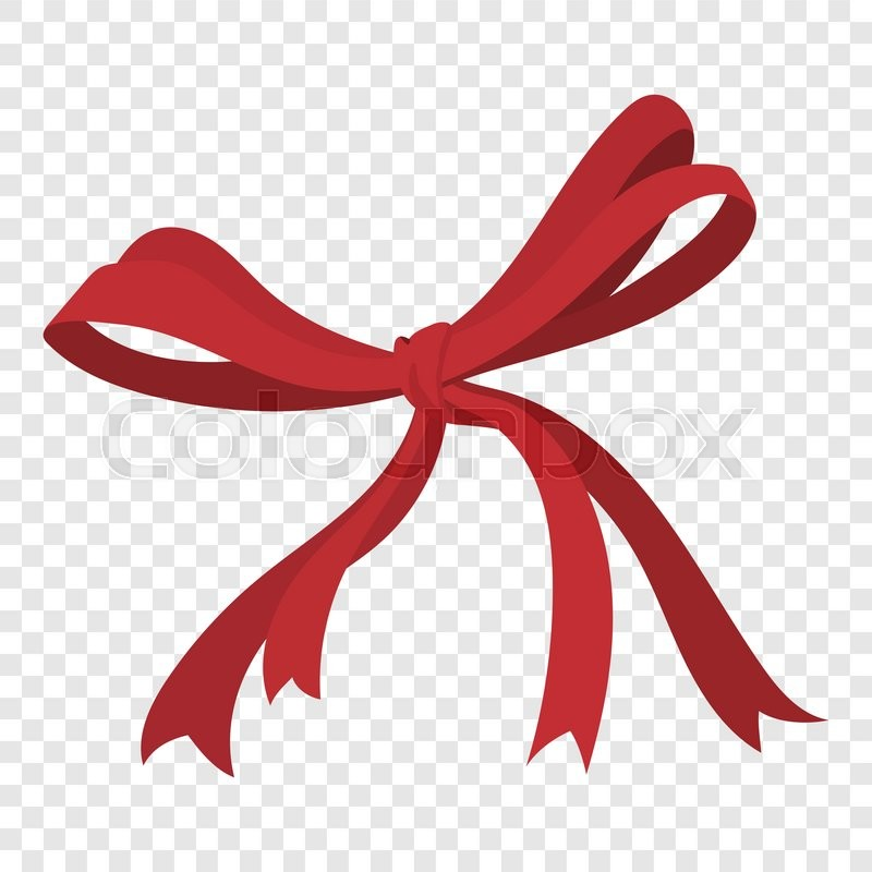 Cartoon Red Ribbon Sign On Transparent Background Stock