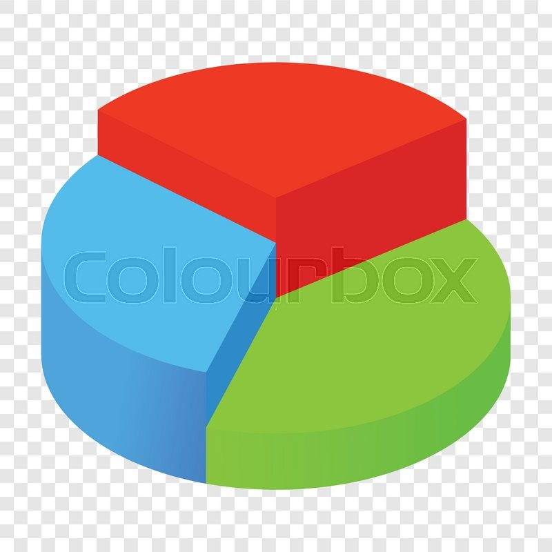 Isometric 3d Pie Chart Icon On Transparent Background Stock Vector