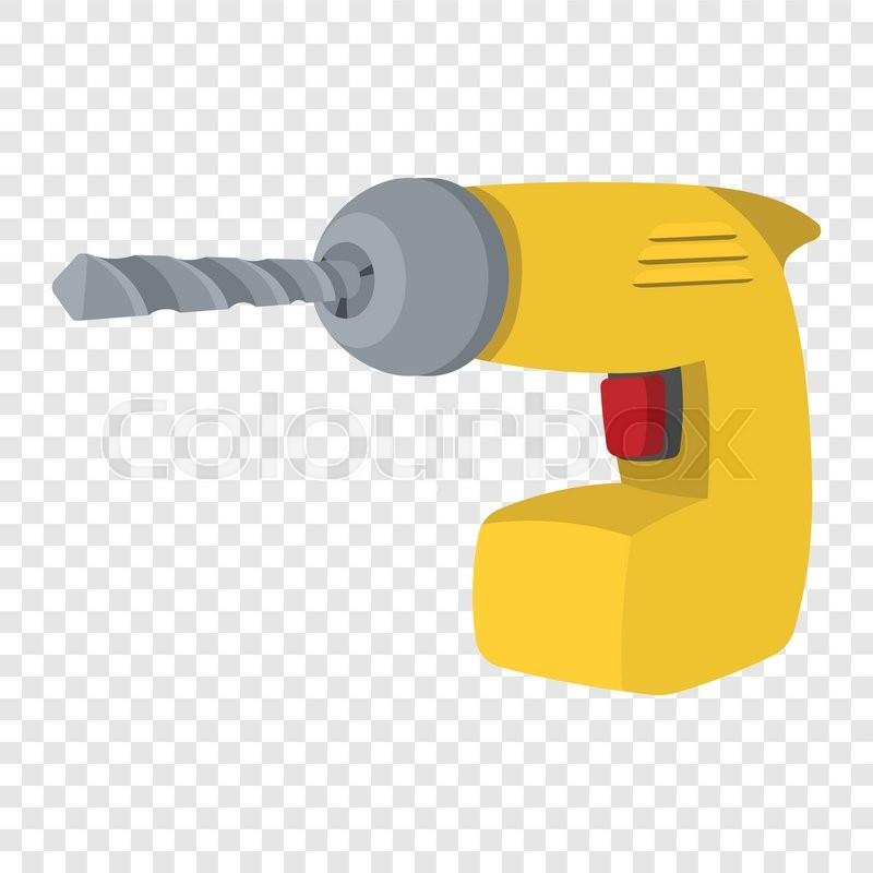 Drill Yellow Cartoon Symbol Single Stock Vector