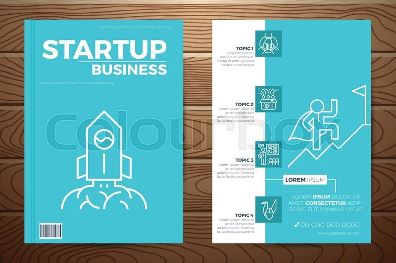 Book Cover Design Elements : Startup business book cover and flyer a template layout