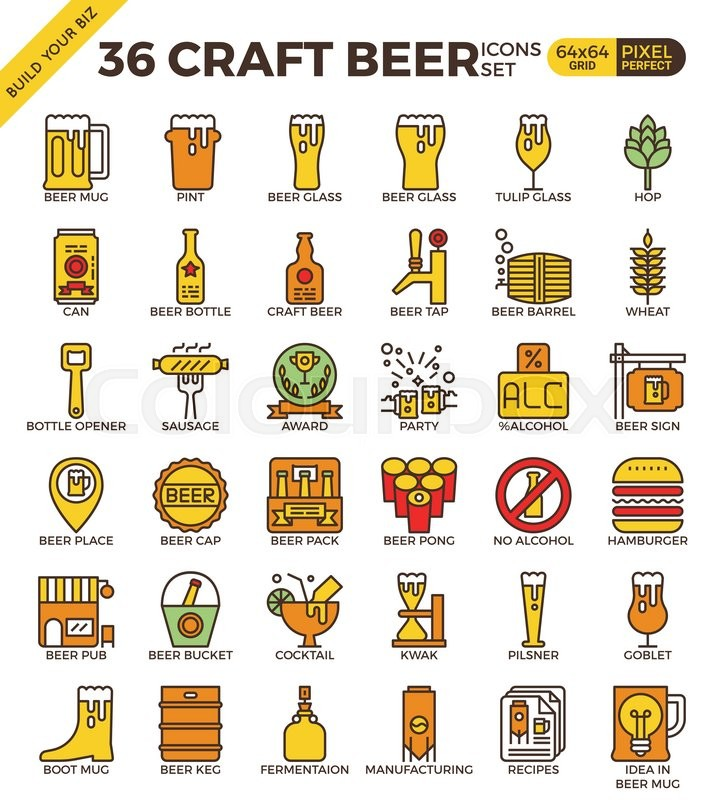 b9fcf905e4a Craft Beer pixel perfect outline icons ...