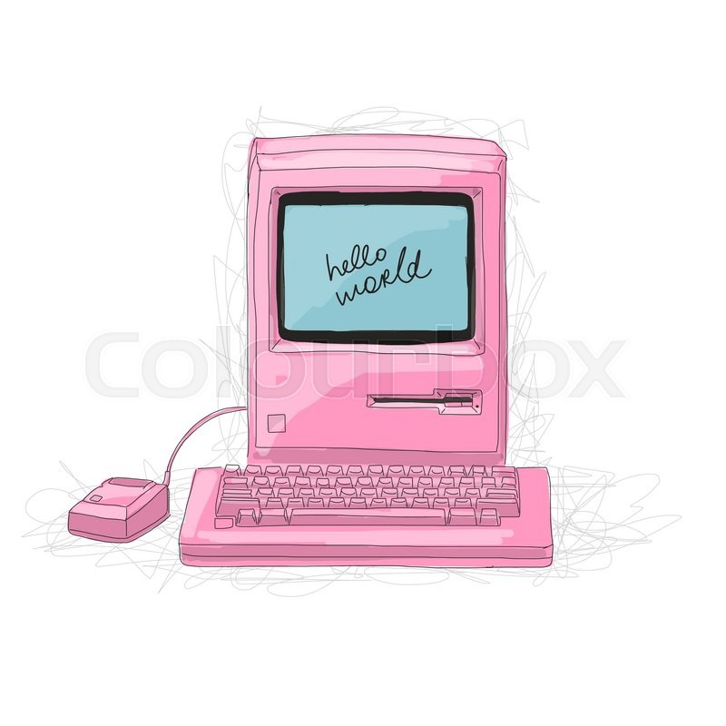 Retro computer pink, sketch for your     | Stock vector