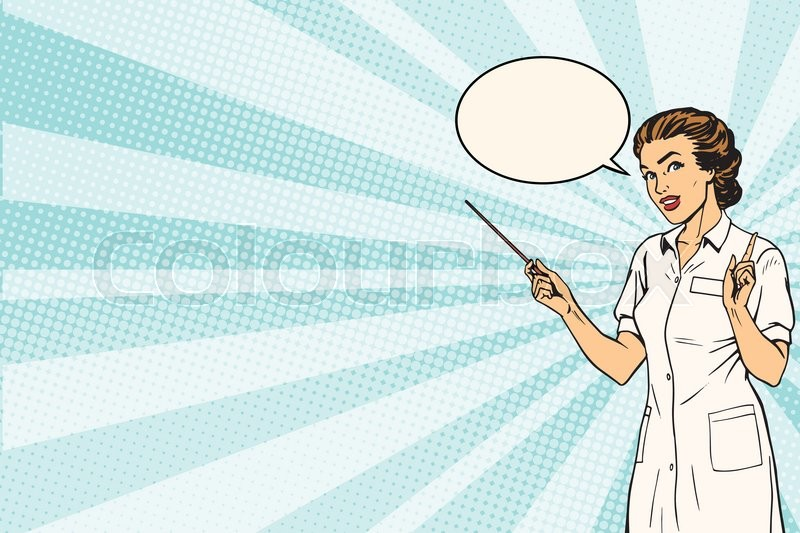 female doctor medical presentation background pop art retro vector