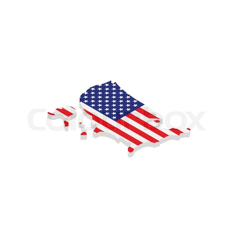 USA map with american flag texture isometric 3d icon on white ...