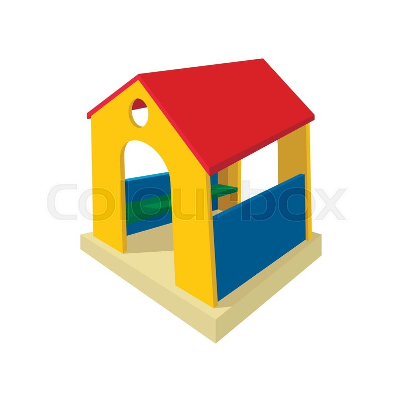 Toy House Cartoon Icon Wooden Little House Playground Equipment On
