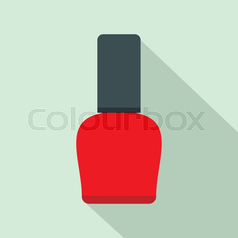 Red nail polish bottle flat icon on a light blue background   Stock ...