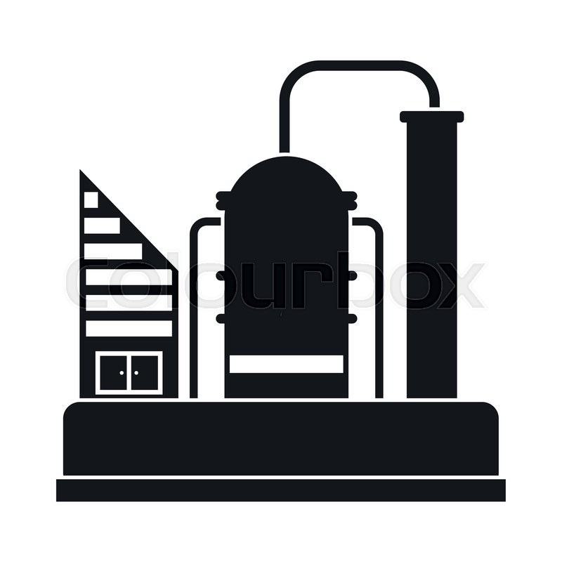 Oil refinery or chemical plant black simple icon | Stock ...