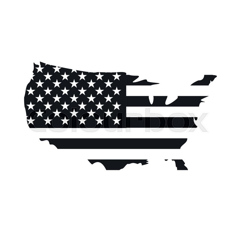 Usa Map Black.Usa Map Flag Icon Black Simple Style Stock Vector Colourbox