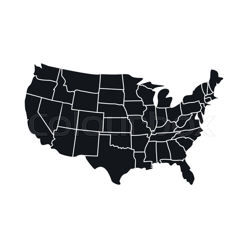 USA map with states icon. Black simple ... | Stock vector | Colourbox