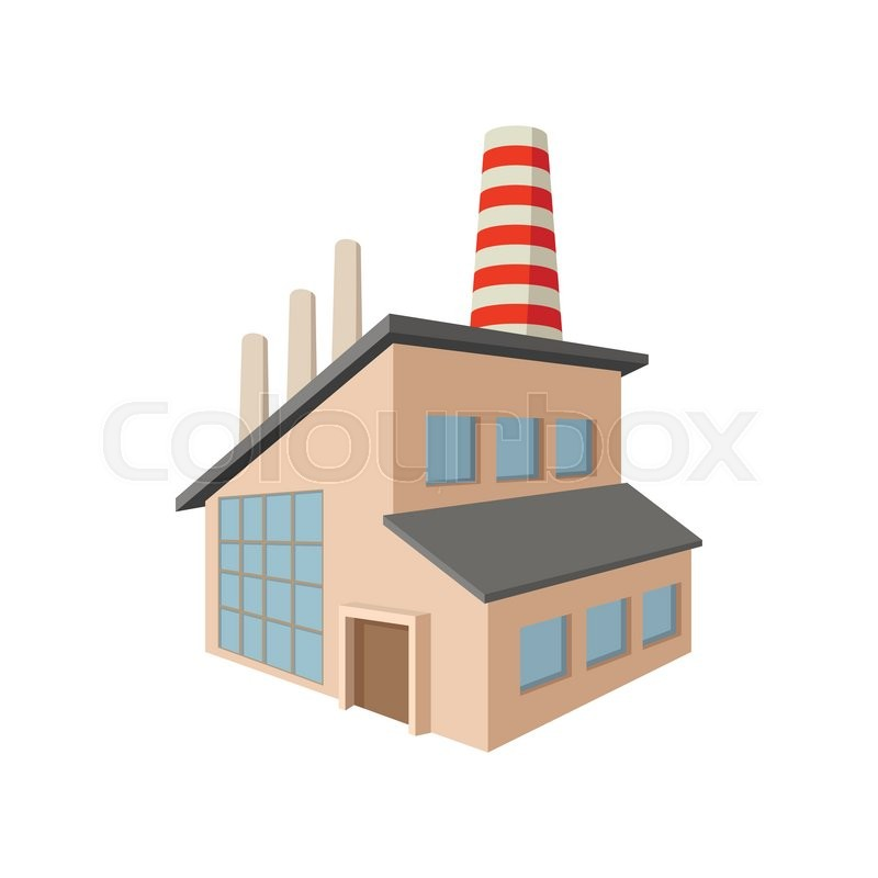 Factory building cartoon icon on a white background ...