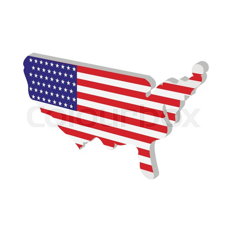 USA Map With American Flag Texture Cartoon Icon On White - Us map logo