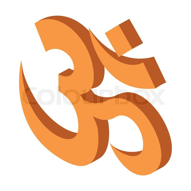 Hindu Om Symbol Icon In Isometric 3d Style On A White Background