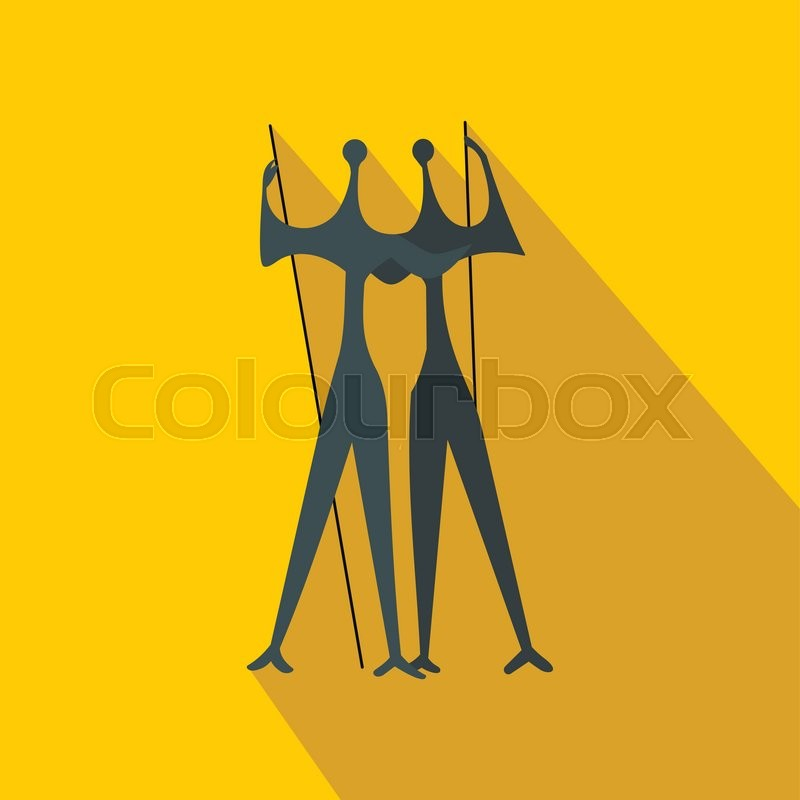 Sculpture of Two Warriors by artist Bruno Giorgi, Brasili icon in flat style on a yellow background , vector