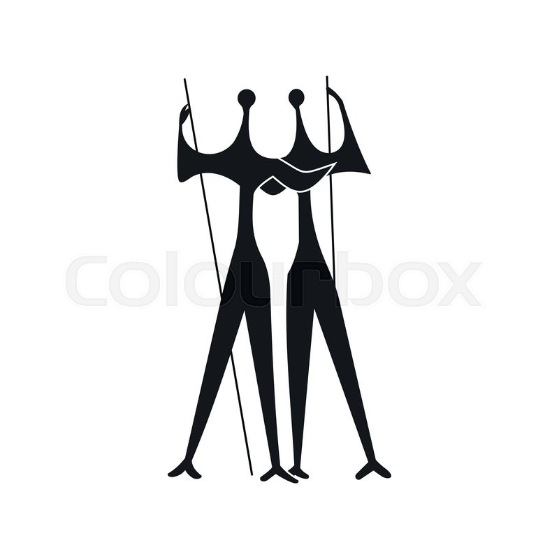 Sculpture of Two Warriors by artist Bruno Giorgi, Brasili icon in simple style isolated on white background, vector
