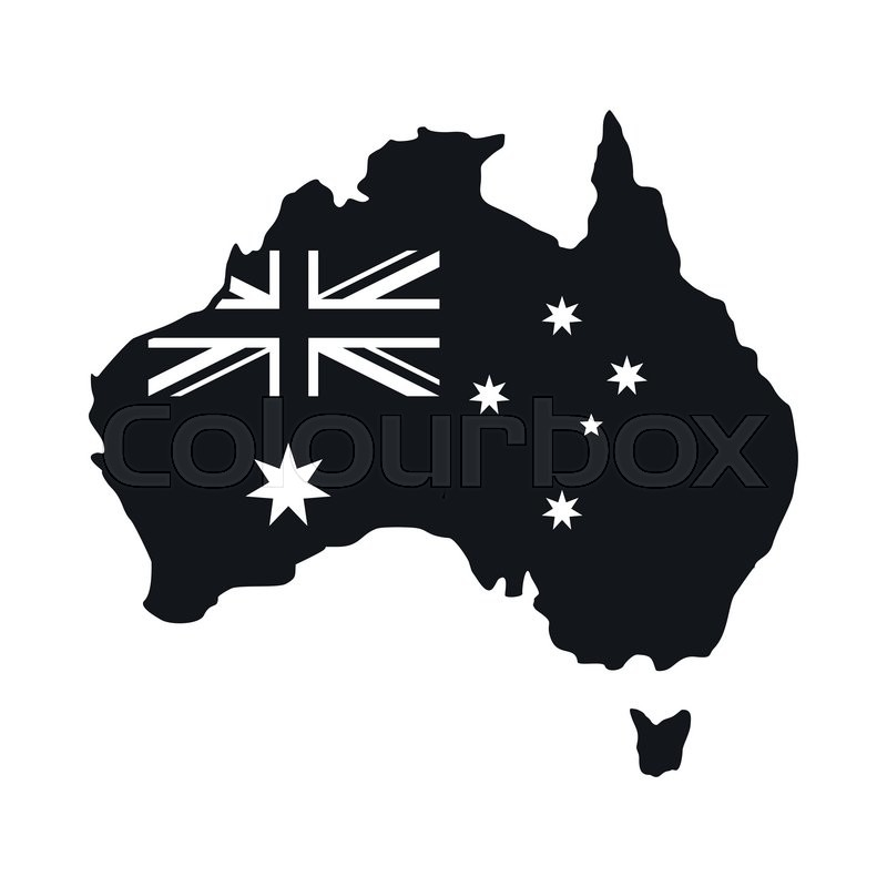 Australia Map Icon.Australia Map With The Image Of The Stock Vector Colourbox