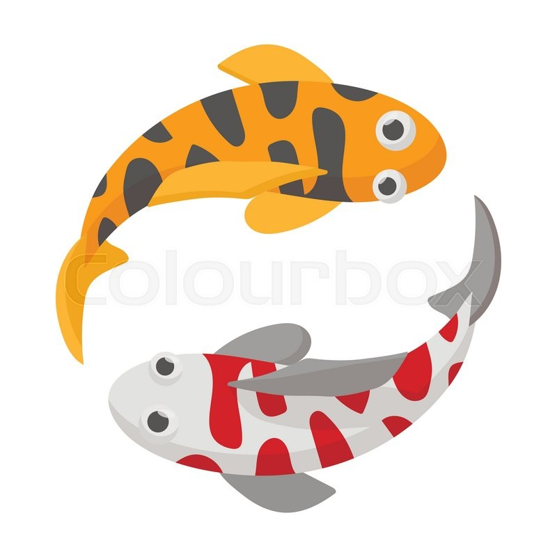 two koi fishes icon on white background in cartoon style koi fishes rh colourbox com Yin Yang Koi Fish Wallpaper Yin and Yang Koi Fish