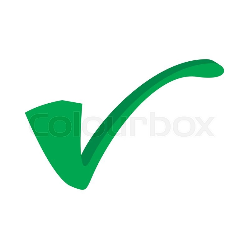 Green Tick Check Mark Icon In Cartoon Style On A White Background