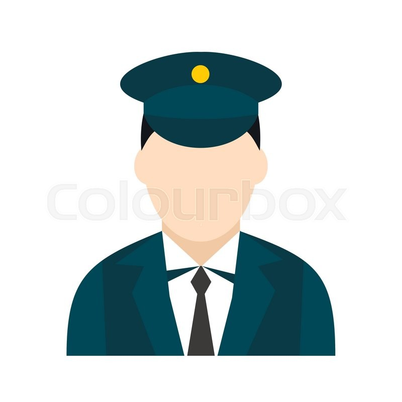 Train conductor icon in flat style isolated on white ...