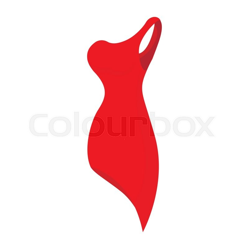 Red evening dress icon in cartoon style isolated on white ...