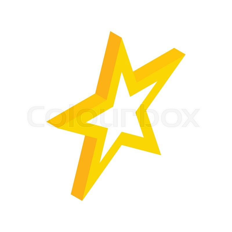 Gold Star Icon In Isometric 3d Style On A White Background Stock